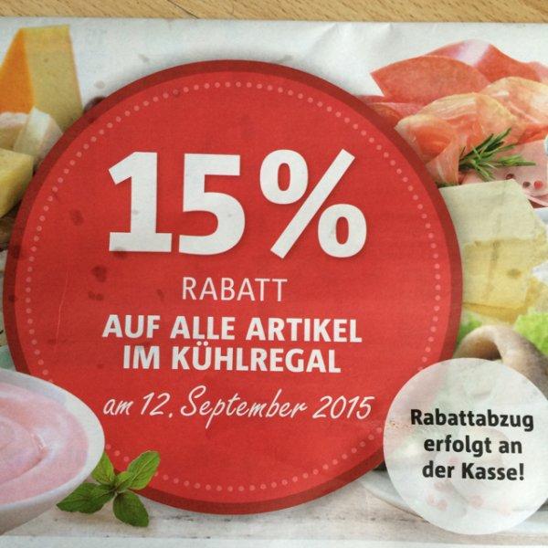 [Netto mit Hund] 15% Rabatt auf alle Artikel im Kühlregal am 12.09.15
