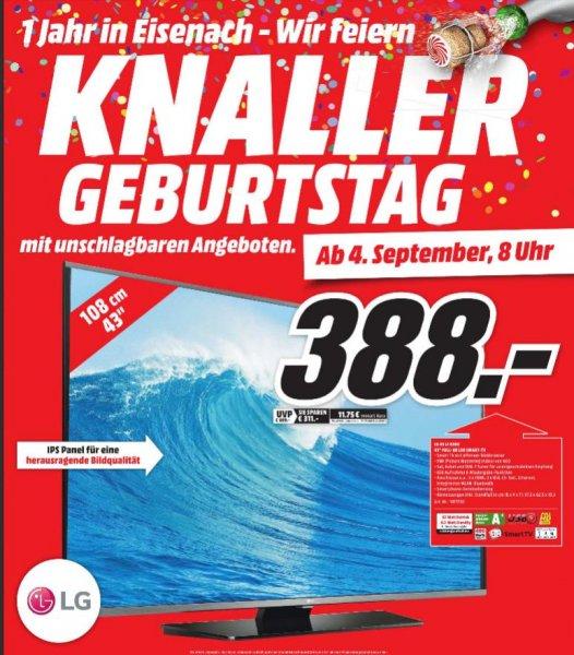 [lokal MediaMarkt Eisenach] LG 43 LF6309 für 388 EUR (ab 04.09.2015 8:00 Uhr)