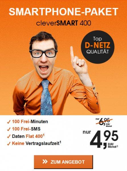 Prepaid D1 Netz Tarif Callmobile 100min/100sms/400MB monatlich kündbar 4,95€