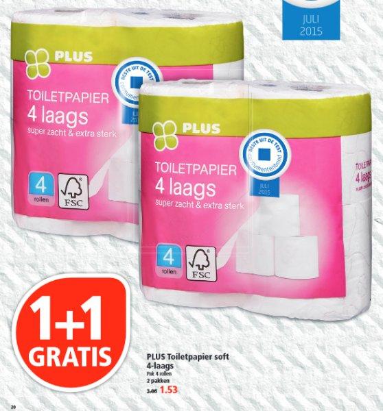 [GRENZGÄNGER NL] PLUS - 8 Rollen Klopapier   Toilettenpapier für 1,53 Euro
