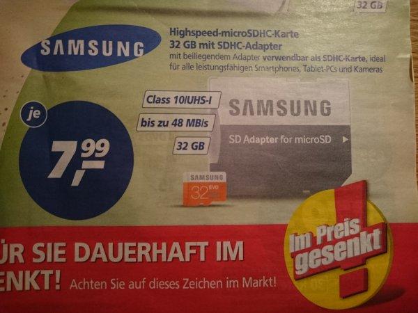 [Lokal real Göttingen - Kauf Park] Speicherkarte Samsung microSDHC 32GB EVO UHS-I Class 10 + Adapter