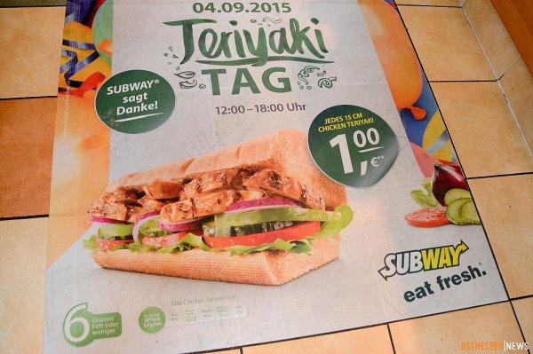 """[Lokal Fulda] """"Teriyaki-Tag"""" bei SUBWAY 1 Euro je 15 cm Chicken-Teriyaki Sandwich. Essen für den guten Zweck (alles wird gespendet)"""