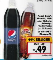 [KAUFLAND] KW37: Pepsi/Pepsi Light/Mirinda/7Up/Schwipp Schwapp 1,5l für 0,49€ (nicht BY/BW) [10.-12.09.]