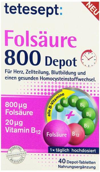 [Amazon-Marktplatz] Tetesept Folsäure 800 Depot, 40 Stück, 5er Pack (5 x 20,6 g)