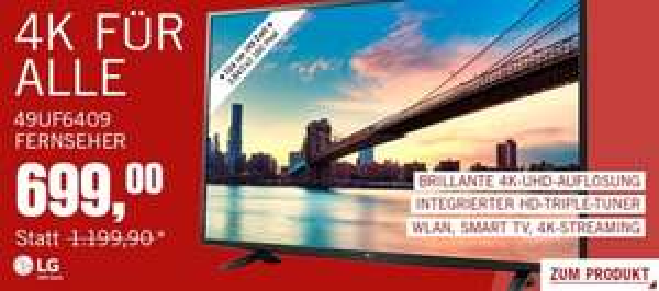LG 4K Ultra HD Fernseher 49UF6409 -- CYBERPORT