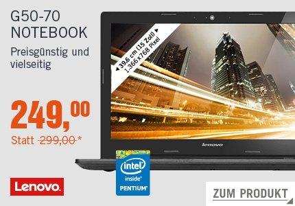 Lenovo IdeaPad G50-70 Notebook Pentium 3558U 4GB 500GB SSHD ohne Windows --- CYBERPORT