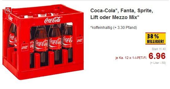 Bei Kaufland 12 x 1 Liter Coca-Cola alle Sorten, Fanta, Sprite, Lift oder Mezzo Mix 6,96 € Statt 11,40€