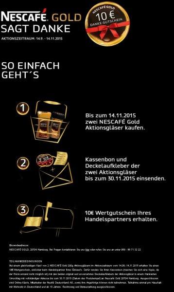 Nestle Gold sagt Danke - 10 € Einkaufsgutschein - Aktionszeitraum ab 14.09.2015