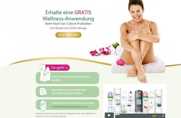 3 Dove Produkte kaufen und eine Wellness-Anwendung GRATIS bekommen