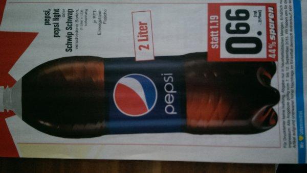 Pepsi, Pepsi Light oder Schwip Schwap 2 Liter für 0,66€+0,25Pfand bei Edeka Hessen, Süd Niedersachsen