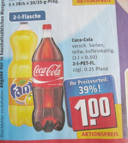 [Rewe] Coca Cola & Co. 2-Liter-Flasche für 1€