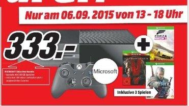 [Lokal Mediamarkt Neu-Ulm] Nur heute am 06.09 (Verkaufsoffener Sonntag) Xbox One 500GB + The Witcher 3 + MGS: Phantom Pain + Forza Horizon 2 nur 333€
