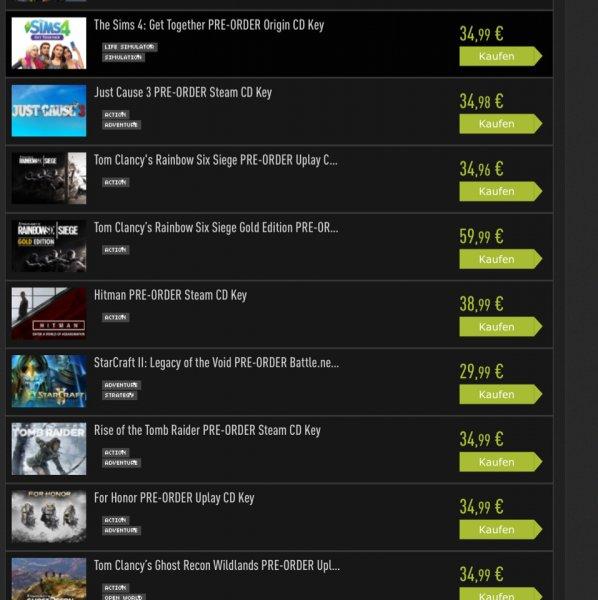 Vorbesteller PC fast alle Games 34,99€