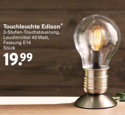 """[NETTO MIT SCOTTI] Tischlampe """"Edison"""" 40W mit 3-Stufen Touch-Steuerung E14 für 19,99€"""