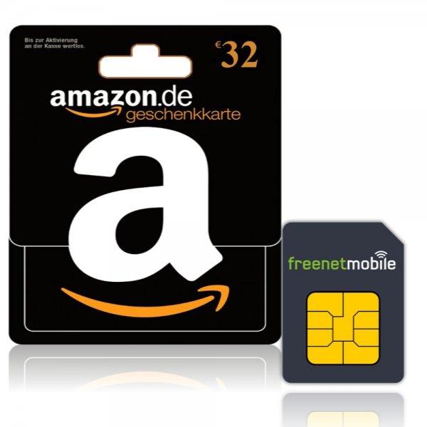 32 Euro Amazon Gutschein für 3,90 Euro-Duo-Simkarte von Freenet