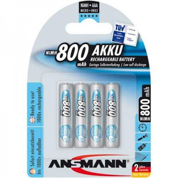 [Amazon Marketplace] Ansmann maxE Micro AAA NiMH Akku 800mAh, 4er-Pack (5035042), (UVP: 11,99, Versand: 3,99)