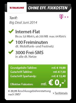 100Min + 3000SMS + 200MB Flat im Telekom Netz gratis