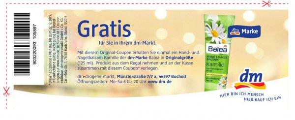 (dm/deutschlandweit) Balea Hand & Nagel Balsam gratis