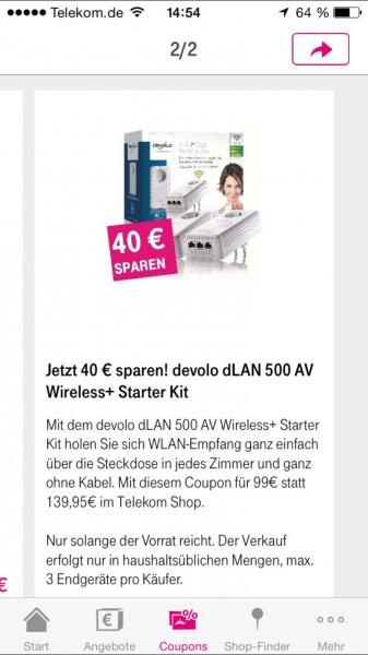 40€ sparen auf devolo dLAN 500 AV Wireless+ Starter Kit