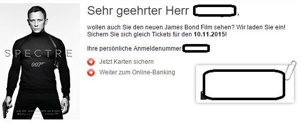 James Bond Spectre Kinokarten (10.11.2015) für Kunden der Stadtsparkasse Augsburg