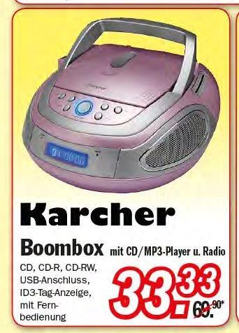 Zimmermann Sonderposten Karcher RR 5070 Boombox pink für 33,33 € ab 07.09.2015