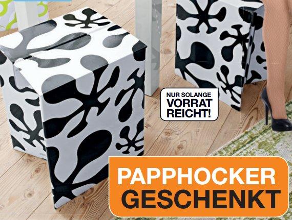 [SEGMÜLLER] Papphocker im Wert von 9,99€ geschenkt mit Coupon zum Ausdrucken in PDF