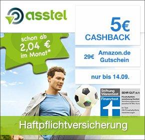 [Qipu] Asstel: Privathaftpflichtversicherung mit 18-29€ Amazon Gutschein + 5€ Cashback - ab eff 1,12€ im ersten Jahr
