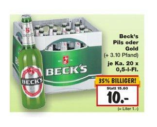 Becks im Kaufland wieder für 10€ + Pfand