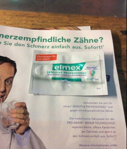 DM - Alverde Kundenzeitschrift elmex Zahncreme Probe