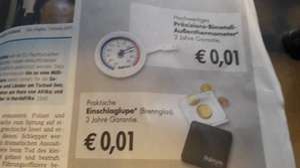 (Lokal Aschaffenburg)  Einschlaglupe oder Außenthermometer für je 0,01€