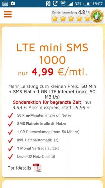 LTE im O2 Netz, für 4,99€/Monat  [simdiscount]