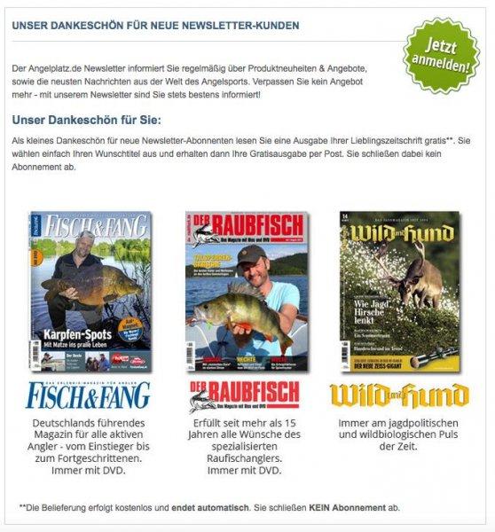 1 Ausgabe Jagdzeitung oder Angelzeitschrift kostenlos ( Wild&Hund ,Fisch&Fang oder Raubfisch )