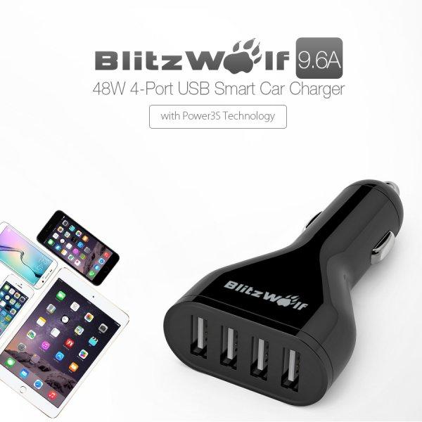 BlitzWolf™ 9.6A 48W 4 Port USB KFZ Ladegerät Farbe schwarz / weiß -- banggood