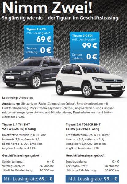 VW Tiguan Neuwagen für 82,11 € pro Monat / 24 Monate 0,- Anzahlung