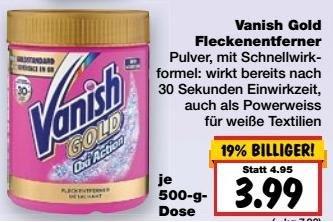 [Kaufland BW/BY KW38] Vanish Gold 500g mit Coupon für 3,49€