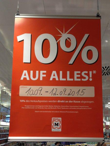 Lokal: Drogeriemarkt Müller Ravensburg - 10% auf alles* 10.09-12.09.15