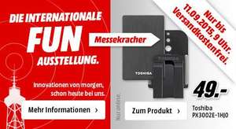 [Mediamarkt) Toshiba STOR.E Alu TV Kit 1TB, USB 3.0(2,5'' externe HDD mit Aluminiumgehäuse + Universalhalterung) für 49,-€ Versandkostenfrei