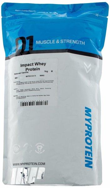 [Amazon-Marktplatz] Myprotein Impact Whey Protein Natural Vanilla, 1er Pack (1 x 1 kg)