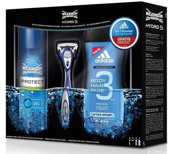 Wilkinson Geschenkset (adidas 3-in-1 Duschgel, Hydro 5 Rasierapparat und 200 ml Protect Sensitive Rasiergel) für 4,78€ (Plus Produkt)