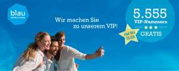 blau.de vergibt 5.555 VIP Nummern