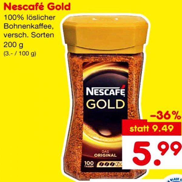 Das Glas Nescafé Gold 200 g für nur 79 CENT durch Angebot und 10 € Einkaufsgutschein am Samstag den 19.9 bei [Netto und Lidl]