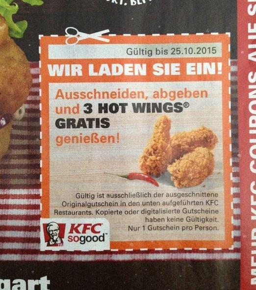 [Stuttgart,Sindelfingen,Ludwigsburg ] KFC - 3 hot Wings gratis - Gutschein im EinkaufAktuell