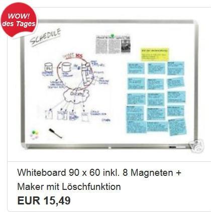 EBAY WOW Whiteboard 90cmX60cm, 8 Magneten, 1 Marker