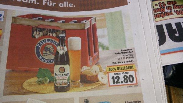 (Kaufland) Kasten Paulaner 20x 0,5 Liter für 12,80 € lokal.