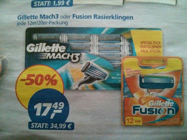 [real] Gillette Mach 3 (20 Stück) oder Fusion (12 Stück) Rasierklingen vom 14.09 bis 19.09