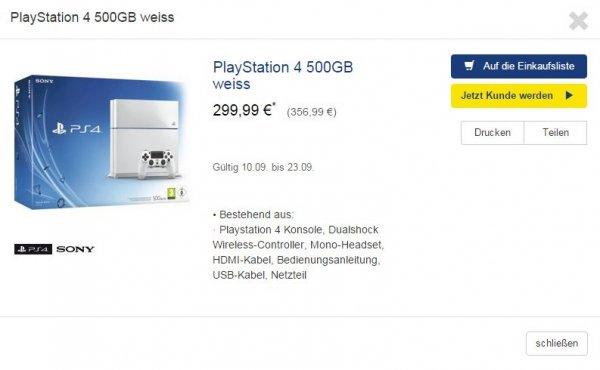 [You&Metro] Sony Playstation 4 500GB weiß für 299,99 €