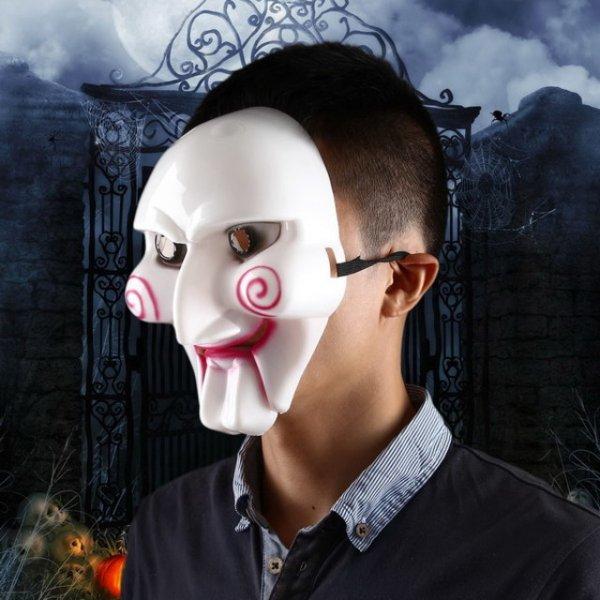 Chainsaw Killer PVC Maske für Halloween Masken Partys – schwarz-weiss-rot -- allbuy