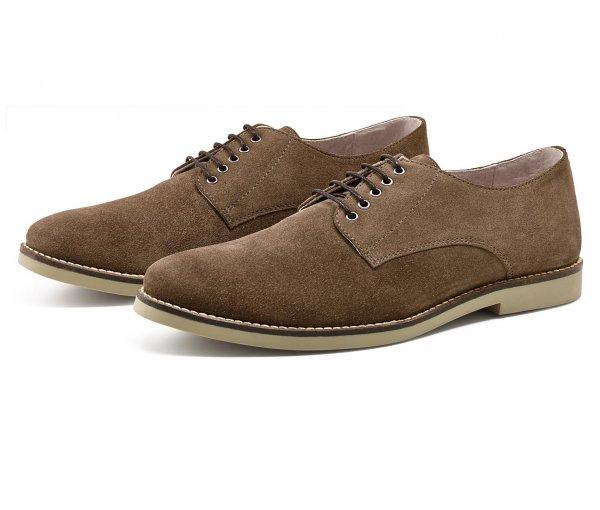 [6% Qipu] Veloursleder-Schuhe in braun (Größen 42,43,44,45) inkl. roten Wechseln-Schnürsenkeln für 34,95€ @Tchibo Online