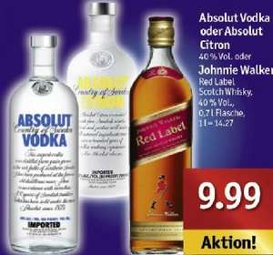 [Plaza/Sky-XXL/Sky-Center] Absolut Vodka 0,7 l für 9,99€