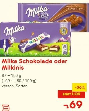 [Netto ohne Hund] 87g-100g Milka Schokolade und Schokinis (versch. Sorten) für 0,69€